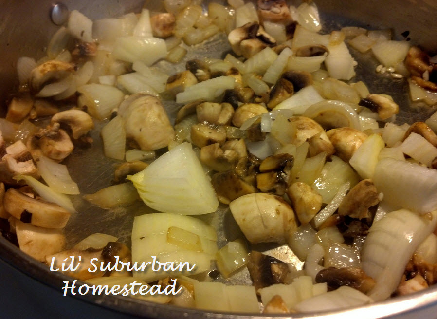 Onions & mushrooms cooking up