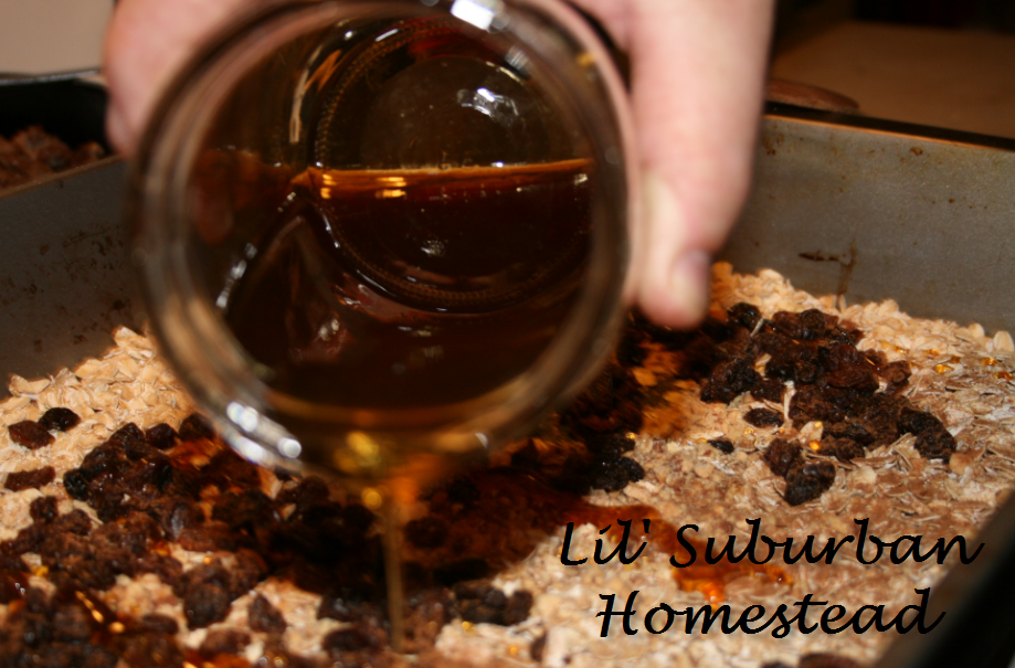 Using our honey from our bees to make homemade granola