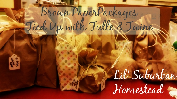 brown paper packages tied up with tulle and twine by lil suburban homestead