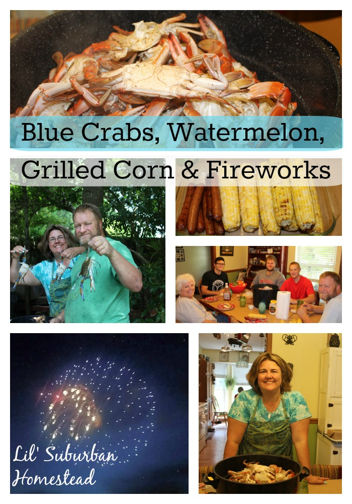 blue crabs, watermelon, grilled corn & fireworks