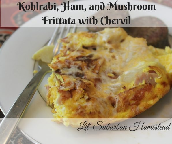 Kohlrabi, Ham, and Mushroom Frittata with Chervil