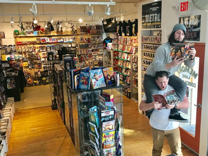 ben and jake at memory lane comic books