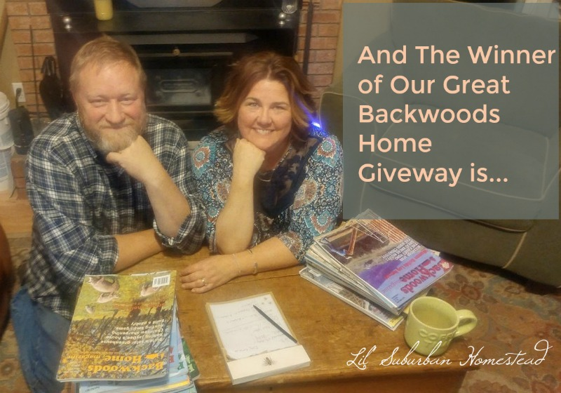And the winner of Our Great Backwoods Home Giveaway Is...
